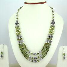 Necklace & Earrings 55 Grams Natural Peridot Gemstone Beaded Beautiful