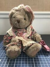 Ruffles Russ Teddy Bear Plush Stuffed Animal Floral Lace Gift Country Decor Cute
