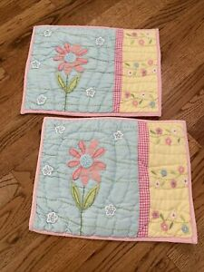 "Pottery Barn Kids Daisy Quilted Decorative Pillow Sham Toddler 12"" X16"" Lot 2"