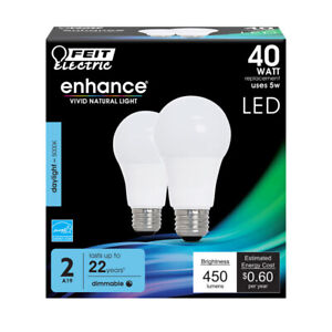 FEIT Electric 5 watts A19 LED Bulb 450 lumens Daylight A-Line 40 Watt