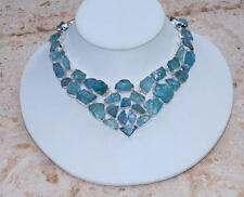 Amazing All Natural Rough Aquamarine Set in 925 Solid Sterling Silver Necklace