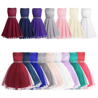 Flower Girl Dress Princess Party Formal Wedding Bridesmaid Sequins Lace Dresses