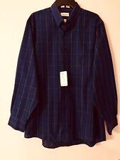 Van Heusen Navy Blue Checked Shirt L/S Button Down Easy Care Sz XL 17 34/35 NWT