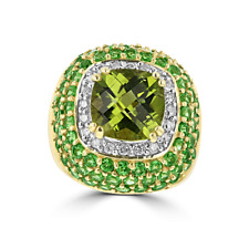 14KT YELLOW GOLD PERIDOT, GARNET, & DIAMOND HALO RING