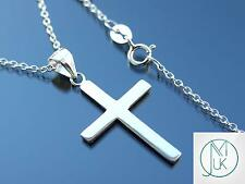 Solid 925 Sterling Silver Quality Cross Charm Pendant Chain Necklace
