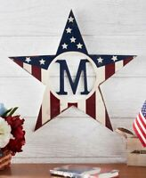 Patriotic Monogram Star Wall Hanging Sign Personalized Decor 15 Letters Initials