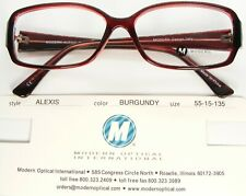 NEW MODERN OPTICAL ALEXIS BURGUNDY EYEGLASSES GLASSES PLASTIC FRAME 55-15-135mm