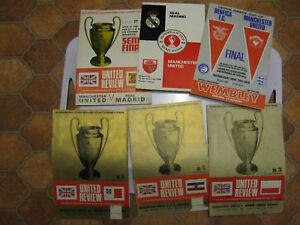 MANCHESTER UNITED 1968 EURO CUP WIN 6 ORIGINAL PROGS.