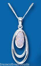OPALE ciondolo opale collana argento sterling massiccio ciondolo e catenina