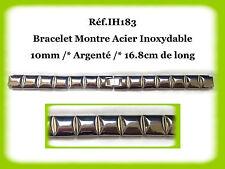BRACELET MONTRE ACIER INOXYDABLE /* ARGENTÉ /* 10 mm  REF.IH183