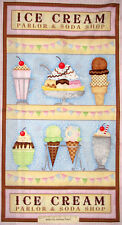 Ice Cream Sundae Parlor Whats The Scoop Cone Soda Food SPX Cotton Fabric PANEL