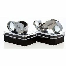 New 2pc Jewelers Eye Loupe Set 30X + Dual 10X-20X Magnifying Glass Ships Fr USA