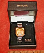 Vintage Men's Gold Electroplate Bulova N2 Accutron Quartz Watch & Box