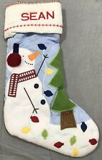 """Pottery Barn Kids Blue Snowman Quilted Stocking """"Sean"""" Monogram"""