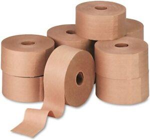 """Reinforced Kraft Gummed Paper Sealing Tape, 3"""" x 450 Feet, Brown, 10/Carton"""