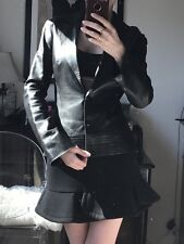 $4500 Jitrois Luxurious Soft Black Leather Jacket FR 34 US0-2