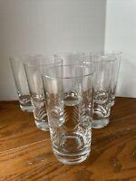 Set of 6 Mid Century Modern Etched Lines Juice Glasses Tumbler Javit Rain 16oz