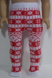 """RED & WHITE Scandinavian Tights Doll Clothes For 18"""" American Girl (Debs*)"""