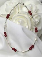 Red Coral White Pearl Bracelet or Ankle Bracelet (2768) Plus Sizes too !
