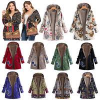 Women Winter Warm Fleece Lined Hooded Jacket Parka Floral Coat Jacket Outwear US