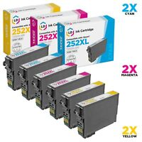 LD 6Pk Reman Cartridges for Epson Ink 252 XL 252XL T252XL Cyan Magenta Yellow