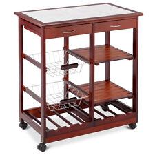 Rolling Wood Kitchen Trolley Cart Island Shelf w/ Storage Drawers Baskets New