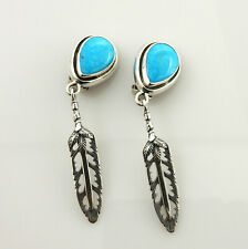 Unique Sterling Silver Blue Turquoise Feather Clip Earrings