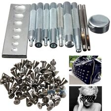11Pcs Craft Tool Die Punch Snap Rivet Setter Base Kit+100Pcs Rivet Bullet Spikes