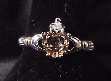 Sterling 925 Silver SF Size 9 Claddagh Ring 7mm Morganite Heart & 2mm WT
