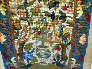 Beautiful Vtg Textile EMBROIDERY HOHO PARROT BIRDS CHINESE URN Petit Gros Point