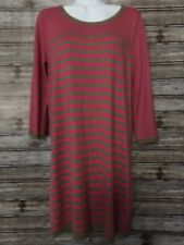 H&M Pink & Brown Scoop Neck 3/4 Length Sleeve Sweater Tunic Dress, Size M NWT