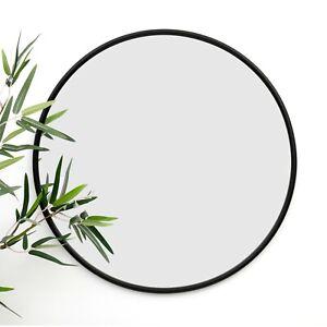 Large Black Framed Round Geometric Wall Mirror Modern Circle Glass Decor 50cm