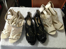 New Woman Beige Black Platforms Wedges high heels lace Shoes size 38,40