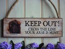Leonberger señal de advertencia señal Casa Placa puerta de jardín de madera signo Leonberger perro