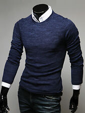 Mens See Through Slim Fit Round Neck Crewneck Knit Sweater Jumper Jacket Top S/M