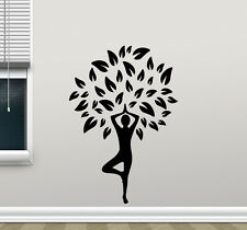 Girl Tree Yoga Pose Wall Decal Life Fitness Wellness Vinyl Sticker Decor 109aaa