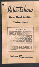 Robertshaw Oven Heat Control Instructions & Cooking Suggestions Booklet