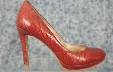 White House Black Market Size 8 Red  Leather Snake Print Heels