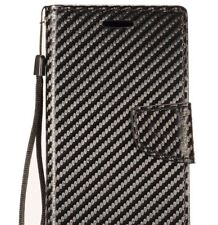 ZTE Tempo X (N9137) / Avid 4 (Z855) - Black Carbon Fiber Card Wallet Pouch Case