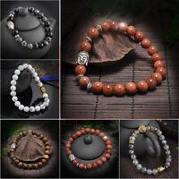 Fashion Men Women Natural Lava Rock Gemstone Beads Bracelet Buddha Head Beaded