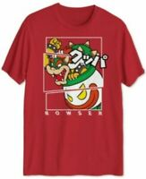 LOT of 2 Super Mario Fragmented Bowser Graphic T-Shirt Wholesale Red Size S-M