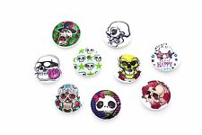 Skull Wooden Sewing Button 15mm 50pcs