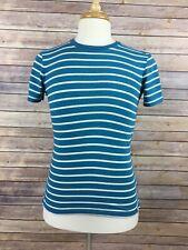 American Eagle Mens Green/ Blue Striped Short Sleeve T-Shirt Size XS Cotton B A5