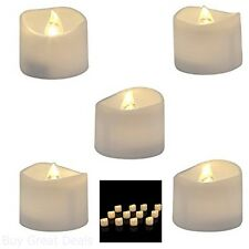 Pack Of 12 Battery LED Tea Lights Timer Warm White Bright Realistic Flickering