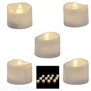 Pack Of 12 Battery LED Tea Lights Warm White Bright Realistic Flickering