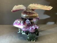 """VTG Chinese Solid Purple Amethyst Eagle Hand Carved With Stand 7"""" Tall 5 Lbs"""