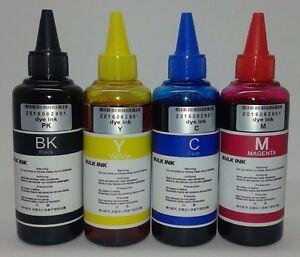 Tinta Dye para recargar cartuchos y CISS  Epson excelente calidad 4 x 100ml