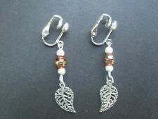 CLIP-ON STYLE - LEAF DANGLE EARRINGS - #CS6872