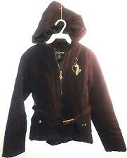 Authentic Baby Phat Puffer Warm Girl's Coat Jacket Hood Black w/ Belt EUC winter