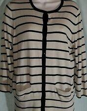 Ann Taylor Size L Reg Striped Sweater Buttoned Lightweight Knit  Poly Blend